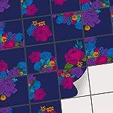 creatisto Fliesen überkleben u. aufkleben Wandfliesen Fliesensticker | Fliesenfolie für Badezimmerfliesen Dekofolie Küche gestalten ohne Fliesen-Farbe | 15x15 cm - Motiv Blumenmuster - 9 Stück