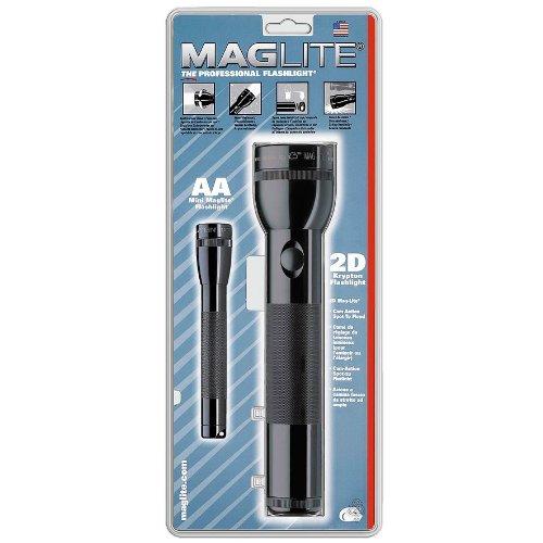 Mag-Lite X04016 grosses Lite-Pack Set: 1x 2 D-Cell Stablampe + 1x Mini Maglite AA