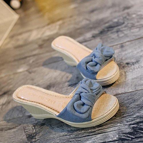 Koly_Adatti a donne i sandali semplici bowknot sandali delle signore dei pattini Blu