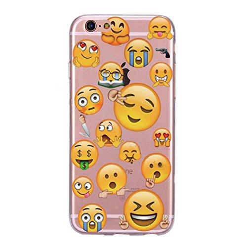 Incendemme Handycase Handyhülle Schutzhülle Handytasche Case Back Für iPhone TPU Emoji Vintage Kreativ Apfel Slim Transparent Original (iPhone 8 Plus, Poop) Gun