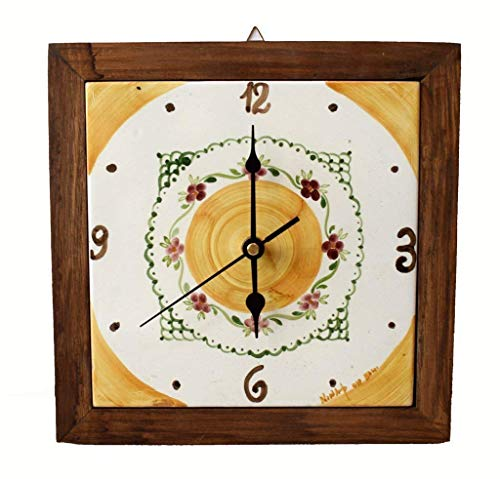 Orologio da muro cornice in legno massello ceramica cucina linea fiori realizzato e dipinto a mano le ceramiche del castello made in italy dimensioni 25 x 25 centimetri