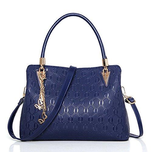 DHFUD Womens PU-Umhängetasche Crossbody Handtasche Mode Geprägt Hohe Kapazität,Blue-OneSize - Geprägte Mode Handtasche