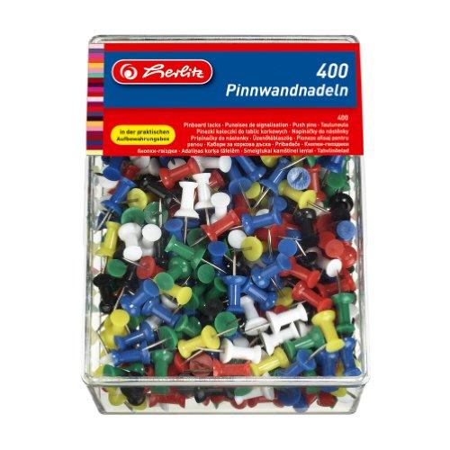 Herlitz 8859142 Pinnwandnadel bzw. Organisationsnadel, 23mm, farbig sortiert, in der 400er Transparentbox