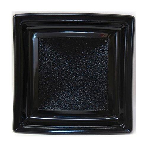 Générique - Assiette plastique carrée 185mm noir par 50