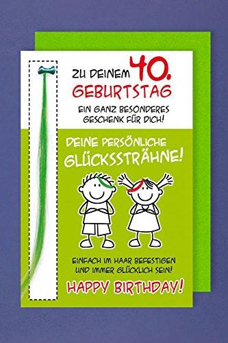 Grußkarte 40 Geburtstag Karte Humor Applikation Glückssträhne C6