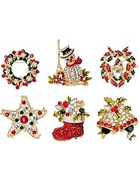 6 Stück Frauen Weihnachten Brosche Kristall Brosche Für Pullover Schal Bekleidungs Schmuck Weihnachten Dekor