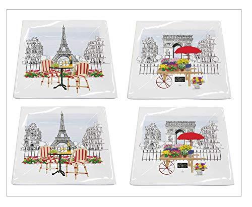 Paperproducts Design Vorspeisen-Teller aus Porzellan, Motiv Paris, Frankreich, 4 Stück