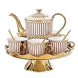 AXROAD MALL L'Oro Europeo Trim Stripe Ceramica Tazza di tè Insieme compreso 6 Pz Tazza di tè con Vassoio del tè ruotabile for casa e Ufficio (Colore : Rosso, Dimensione : Set of 14)