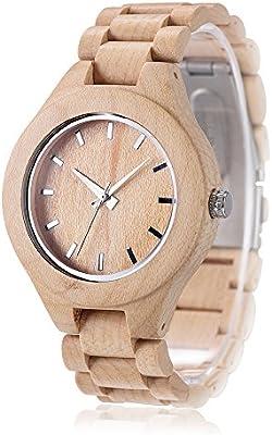 Hecho a mano de los hombres reloj de madera de arce omelong® con Japón analógico movimiento de cuarzo + Woody reloj cara