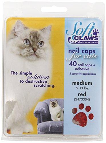 Soft Claws Feline Weiche Krallen Katze Nagel Kappen take-Home-Kit, mittelgroß, Rot