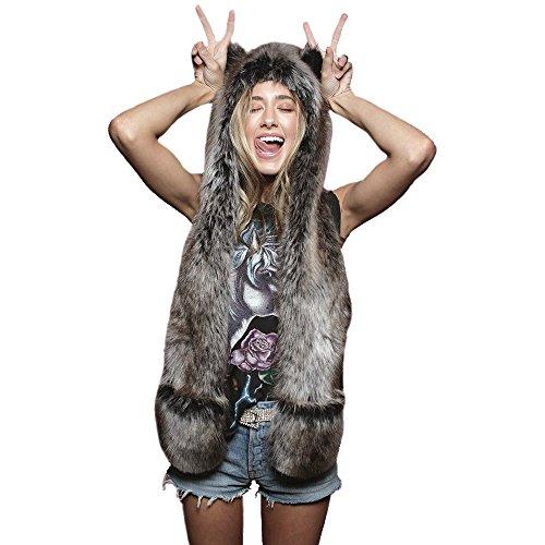 Decobay cappello di pelliccia artificiale invernale unisex caldo shaggy hooded mittens peluche giocattoli animal halloween carnival unicorn cosplay costume. (lupo grigio)