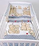BABYLUX Bettwäsche Bezug 2 Tlg. 100 x 135 cm Kinderbettwäsche Bettwäsche Bettset Babybettwäsche TEDDYBÄREN (61. Teddybären Grau)