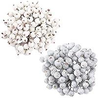 Paquete de 400 Piezas de Bayas de Acebo Heladas Artificiales, blanco y plateado, mini purpurina navideña, decoración de bayas de frutas heladas para festivales, bodas, bricolaje