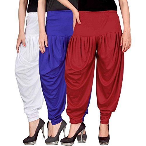 Culture the Dignity Women's Lycra Dhoti Patiala Salwar Harem Pants CTD_00WB1R_1-WHITE-BLUE-RED-FREESIZE -...