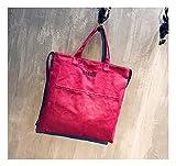 Umweltfreundliche Einkaufstaschen, wiederverwendbare Einkaufstaschen, Strandtasche, große Canvas-Handtasche, Reisetasche, Schultertasche mit Schultergurt 36 cm* 36 cm*2 cm rot