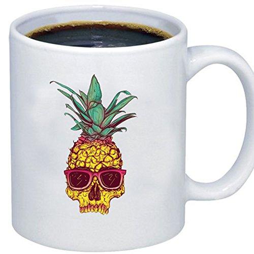 ZMvise Custom Art Pineapple Express Skull Head weiße keramik becher cup perfekt weihnachten thanksgiving gfit Plastic Liner Travel Mug