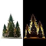 Online-Fuchs Dekorative 3D-Winterlandschaft mit 15 LED´s beleuchtet aus Holz - Lichterkette inkl. Timer - Wahlweise Warmweiß oder Farbwechsel