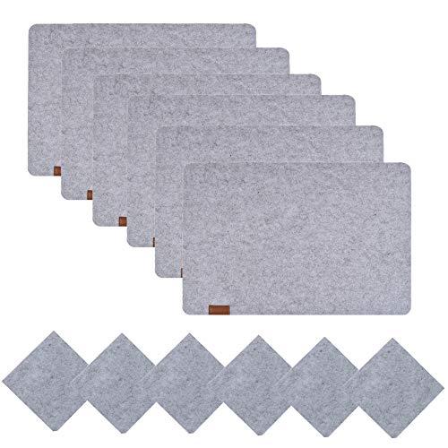 famibay Filz Tischsets 6er Set Abwaschbar Hitzebeständig Platzmatten für Holztisch(Grau)