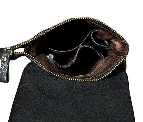 Genda 2Archer Mini Leder Schultertasche Lässig Reisetasche Schwarz