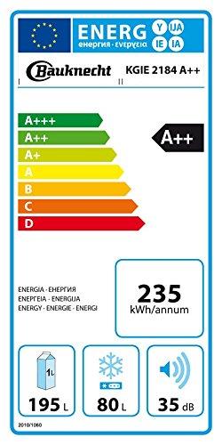 Bauknecht KGIE 2184 Kühl-Gefrier-Kombination/A++ / 177 cm Höhe / 235 kWh/Jahr / 195L Kühlteil / 80L Gefrierteil/Flüsterleise mit nur 35 dB/Nische 178 cm/weiß