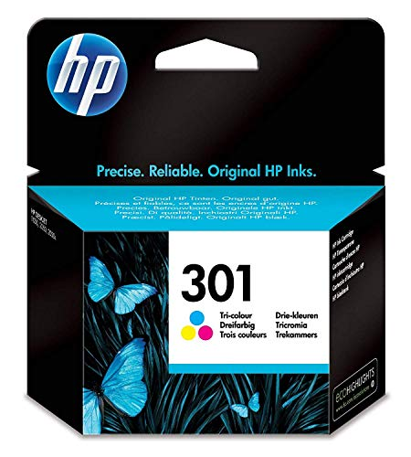 HP 301 Cyan/Magenta/Gelb Original Druckerpatrone für HP Deskjet 1000, 1010, 3000, 1050, 1050A, 1510, 2050, 2050A, 2510, 2540, 3050, 3050A, 3055A, HP Officejet 2620, 4630, HP ENVY 4500, 4504, 5530 - Standard-tri-color Tinte
