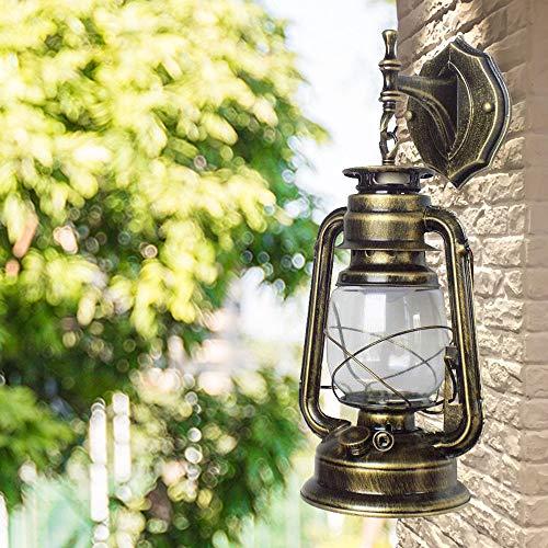 Retro Industrial Außen Laterne YUNRUX Deckenleuchte Antike Wandleuchte Wand-Lampe Vintage Wandbeleuchtung Außenwandleuchte Laterne Patio Beleuchtung Innen Gebogenenlampe Wandlicht Licht Bronze -