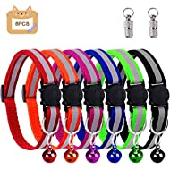 win.max Cat Collar,Cat Collars, Cat Collars with Bells,Reflective Adjustable Fluorescently, Quick Release Buckle, Suitable for Most Domestic Cats (Safety Buckle-6pcs)