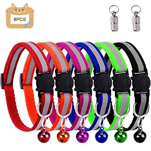 win.max Katzenhalsband,Katzenhalsbänder mit Glocke, reflektierend, individuell einstellbar, fluoreszierend mit Schnellverschluss/Sicherheitsschnalle, geeignet für die meisten Hauskatzen (6PCS)