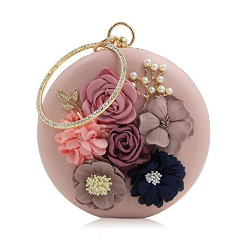 Strawberryer Round Handle Flower Glassbeads Sac à Veste En Broderie Perles En Diamant Pour Femmes Dress Clutch Cell Phone Store Décoration pink