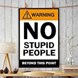 PPD Office Wall Poster Office Door Poster Home Wall Poster Wall Decore Poster (Warning No Stupid People Beyond This Point Tin Sign).