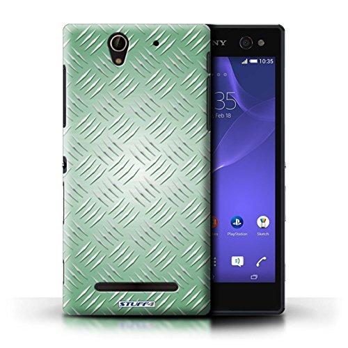 Kobalt® Imprimé Etui / Coque pour Sony Xperia C3 / Argent conception / Série Motif en Métal en Relief Vert