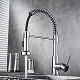BATHWA 360° Drehbar Küchenarmatur Wasserhahn Einhandmischer Geschirrbrause Mischbatterie Wasserfall Spültisch Armatur für Küchen Spüle Chrom