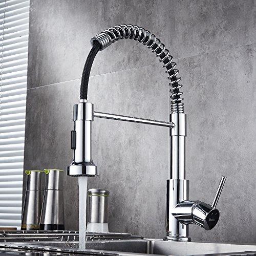 Bathwa 360 ° miscelatore rubinetto da cucina girevole e spring con doccetta estraibile, rubinetto per lavabo cromato con miscelatore acqua calda e fredda