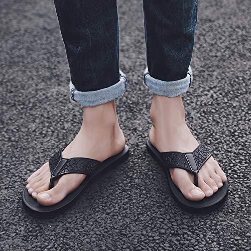 Shukun Infradito Ciabatte da Uomo Summer Fashion Wear Personality Outdoor Flip Flops da Uomo Flippers Beach, 42, Nero
