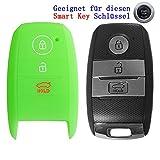 RotSale® 1x Leuchtend Hellgrün Schlüsselhülle Schlüsselhülle KIA Smart Key 3 Tasten Autoschlüssel Silikon Schutzhülle Tasche Gehäuse Etui Fernbedingung Funkschlüssel