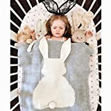 Baby Knitted Cotton Blanket for Summer, VMAE Cute Rabbit Soft Cozy Quilt, Newborn Blanket Ba...