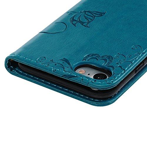 Coque iphone 7, Case Flip Cover Clapet 2 en 1 Housse Protecteur en Cuir PU avec TPU Silicone Case Coverture - Gris Bleu