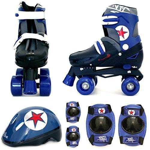 Sk8 Zone Jungen Blau Schwarz Rollschuhe Gepolstert Kinder Roller Stiefel Sicherheit Polster Helm Kinder Skate Set - Small 9-12 (27-30 EU)