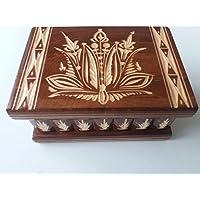 Caja puzzle joyero mágica tesoro marrón misterio de almacenamiento secreto compartimiento de caja de madera decoración para el hogar