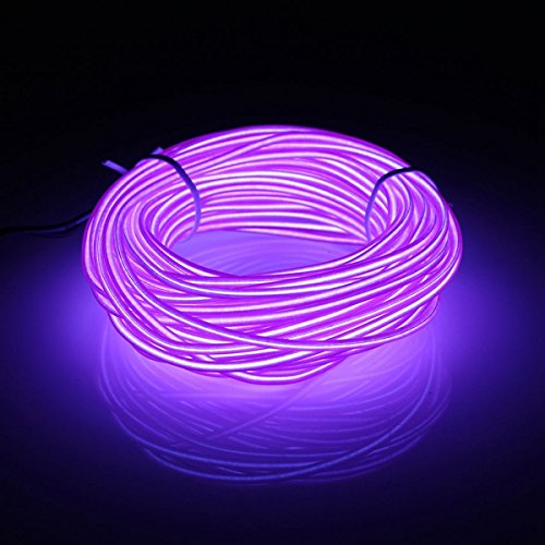 Preisvergleich Produktbild MASUNN 10M EL Führte Flexiblen Weichen Schlauch-Draht-Neonglühen-Auto-Seil-... Dc 12V-Lila