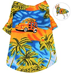 Petacc Camisa de Playa Mascotas Algodón Floral Camiseta Perro Elástico Ropa para Perros Ropa Transpirable para Perros y Gatos, (L, Amarillo)