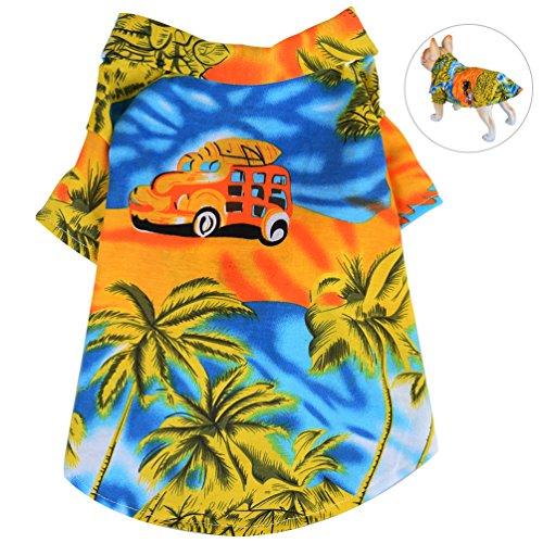 Petacc Camisa de Playa Mascotas Algodón Floral Camiseta Perro Elástico Ropa para Perros Ropa Transpirable para Perros y Gatos, (S, Amarillo)