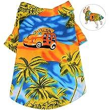 Petacc Camisa de Playa Mascotas Algodón Floral Camiseta Perro Elástico Ropa para Perros Ropa Transpirable para