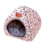 TianBin Fermé Pliable Nid d'animal Automne et Hiver Chaud Chat Maison La Mode Lit de Chien (Rose, XL)