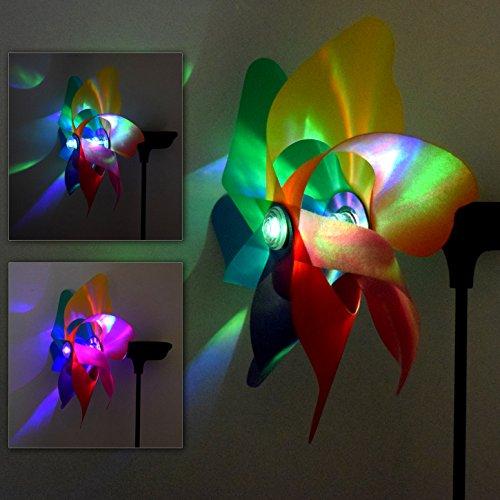 (729) Solar LED Windrad mit Farbwechsel 18 cm Durchmesser Super Effekte