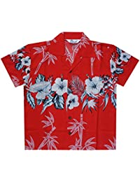 3f1e545abc8415 Alvish Hawaiian Shirts Boys Bamboo Beach Aloha Party Camp Short Sleeve  Holiday Casual
