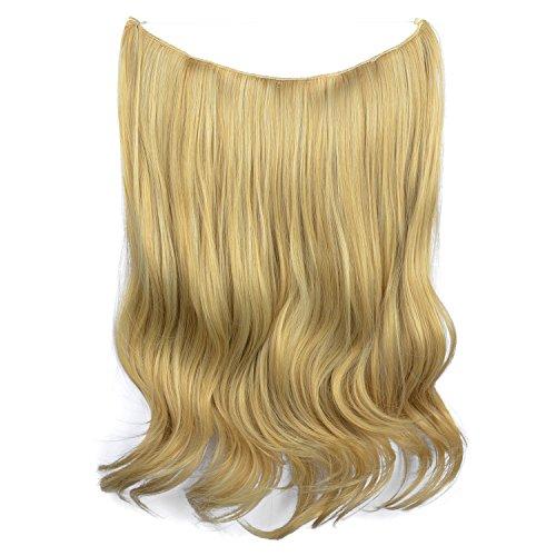 Feshfen - extension di capelli sintetici ondulati per donna, senza clip, con filo invisibile e cordicella trasparente, 50 cm