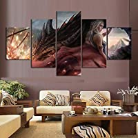 ZYUN 5 Piezas Ilustraciones Pared Arte Juego Tronos Daenerys Targaryen Dragon Mother Pintura Al Óleo Mural para Sala De Estar Decoración Mural,B,30×40x2+30×60x2+30x80×1