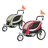 SAMAX Children Bike Trailer PREMIUM 2in1 Kids Jogger Stroller with Suspension 360° rotatable Childs Bicycle Trailer Transport Buggy Carrier for 2 Kids in Red/Grey - Silver Frame