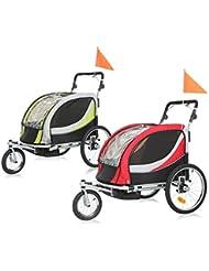 SAMAX PREMIUM Remorque Vélo convertible Jogger 2en1 360° rotatif Pour 2 Enfants Amortisseur Transport Poussette in différentes couleurs